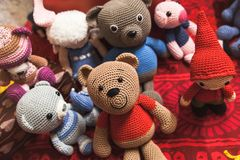 Handmade knitted toys are on the counter Royalty Free Stock Image