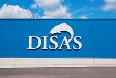 Hamina. Finland. Disas Fish Shop. HAMINA, FINLAND - JUNE 26, 2016: Wall of The Disas Fish Shop with logo and name Royalty Free Stock Photos