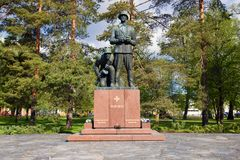 Monument to Finnish soldiers and officers who died during the Second World War. Hamina, Finland. HAMINA, FINLAND - JUNE 03, 2017: Monument to Finnish soldiers Royalty Free Stock Image