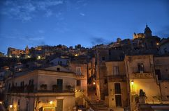 The hamlet of Ragusa Ibla. Night view of the hamlet of Ragusa Ibla stock photos