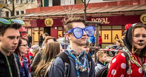 HAMM, GERMANY-NOVEMBER 2017: Carnival, Rosenmontag the day before the traditional end of the carnival seas. HAMM, GERMANY-NOVEMBER 2017: Carnival, Rosenmontag stock photo
