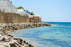 Hammamet海岸线在突尼斯 库存照片