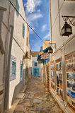 HAMMAMET,突尼斯- 2014年10月:古老麦地那狭窄的街道  库存图片