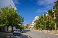 HAMMAMET,突尼斯- 2014年10月:有枣椰子、树和白色大厦的街道2014年10月6日 免版税库存图片
