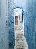 Hammamet-Тунис-переулки стен старых улиц города белых арабских Стоковая Фотография