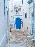 Hammamet-Тунис-переулки стен старых улиц города белых арабских Стоковые Фото