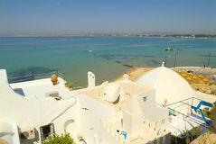 hammamet medina顶房顶白色 库存照片