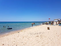 Hammamet, Tunisia - July 25, 2017: People relax on the beach of hotel Club Novostar Sol Azur Beach Congres.  royalty free stock images