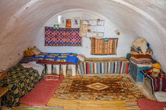 HAMMAMET, TUNISIA - Oct 2014: Interior of bedoin berber house in Sahara desert on October 7, 2014 Royalty Free Stock Photography