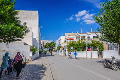 HAMMAMET, TUNISIA - Oct 2014: Slum street with ruins on October 6, 2014 Royalty Free Stock Photography