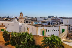 HAMMAMET, TUNISIA - Oct 2014: White houses in El Jem town on October 7, 2014 Royalty Free Stock Image