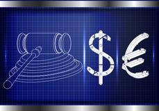Hammare av en domare, en dollar och ett euro stock illustrationer