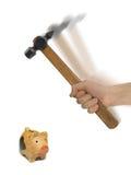 hammarehandmoneybox fotografering för bildbyråer