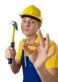 hammaren spikar fridfullt arbetarbarn Royaltyfria Bilder