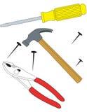 hammareplattångskruvmejsel stock illustrationer