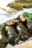 Hammelfleisch mit Reis rollte in Blätter Stockbilder