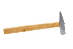 Hammer. Hammer with the wooden handle on a white background Stock Image
