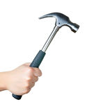 Hammer. Hand holding an hammer on a white background Stock Photos