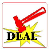 Hammer. Deal in bid with red hammer Royalty Free Stock Images