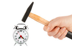 Hammer with alarm clock Royalty Free Stock Photography