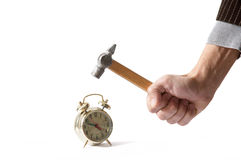 Hammer and alarm clock Royalty Free Stock Photos