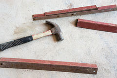 Hammer and angle steel Stock Image