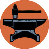 Hammer and Anvil. A hammer and anvil iconic design emblem Stock Images