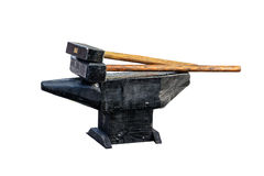Hammer and anvil isolated Stock Images