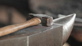 Hammer and Anvil. Tools for blacksmithing Stock Photo