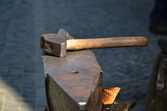 Hammer and anvil used by a blacksmith Royalty Free Stock Image
