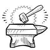 Hammer and anvil vector stock illustration