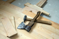 Hammer and axe Royalty Free Stock Photography