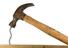 Hammer and bent nail Royalty Free Stock Photos