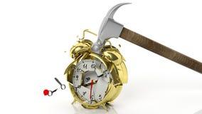 Hammer breaking golden alarm clock Royalty Free Stock Photos