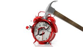 Hammer breaking red alarm clock. Isolated on white background Royalty Free Stock Image