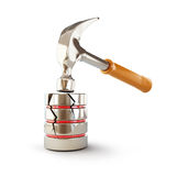 Hammer breaks a database on a white background. Hammer breaks a database 3d Illustrations on a white background Stock Photography