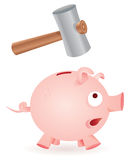 Hammer breaks piggy bank. Hammer is about to break a moneybox scared Royalty Free Stock Image