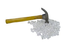 Hammer and Broken Glass Royalty Free Stock Photos