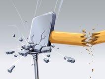 Hammer broken striking a nail Stock Image