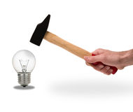 Hammer an bulb Royalty Free Stock Photo