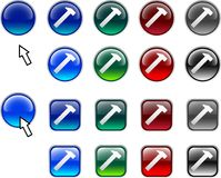 Hammer buttons. Royalty Free Stock Photo