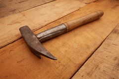 Hammer. Carpenter Tools on rustic wood stock photo