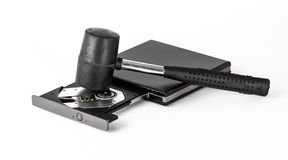 Hammer and CD-ROM Drive Royalty Free Stock Photos