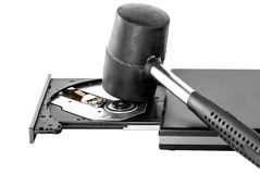 Hammer and CD-ROM Drive Stock Images