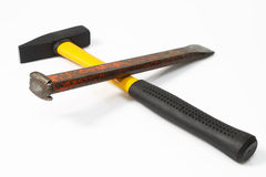 Hammer and chisel. On bright background. Shot in studio royalty free stock image