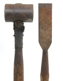 Hammer and chisel. Rusted Antique hammer and chisel Royalty Free Stock Photography