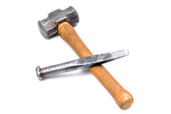 Hammer and chisel. Isolated on white background stock images