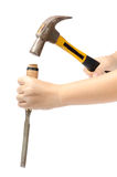 Hammer and chisel. Hand hold hammer and chisel isolate on white background stock image