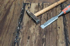 Hammer and chisel. The two most important tools in woodworking Royalty Free Stock Photography