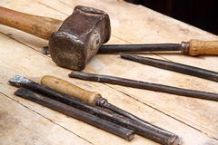 Hammer and chisels. Set of hammer and chisels for woodworking Stock Photo